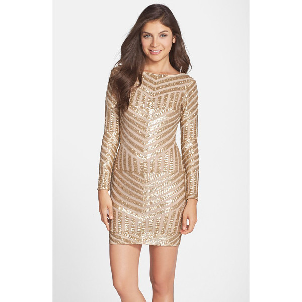 DRESS THE POPULATION lola sequin body-con dress - Dazzling sequins create an ornate Art Deco pattern over a...