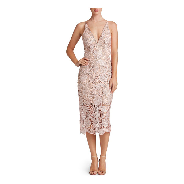 DRESS THE POPULATION 'marie' lace midi dress - Alluring details, including a plunging neckline and...