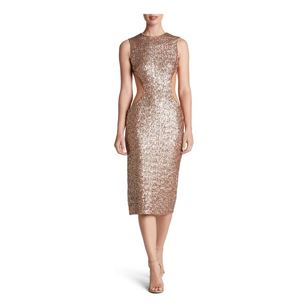 DRESS THE POPULATION ryan side cutout sequin midi dress - Daring cutouts veiled with illusion carve a shapely...