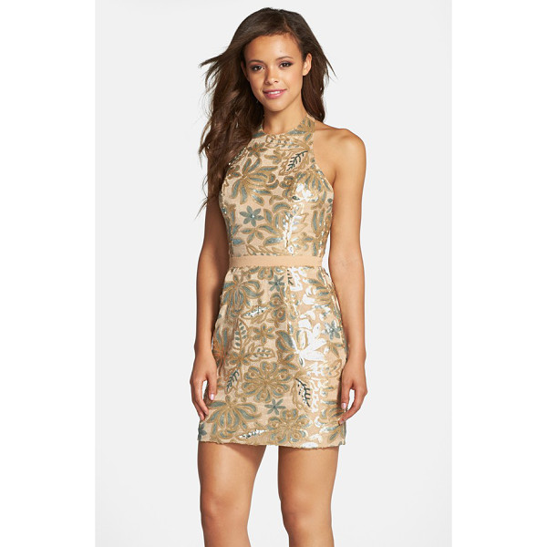 DRESS THE POPULATION scarlett sequin chiffon halter dress - Shimmering sequins create a gorgeous floral design on this...