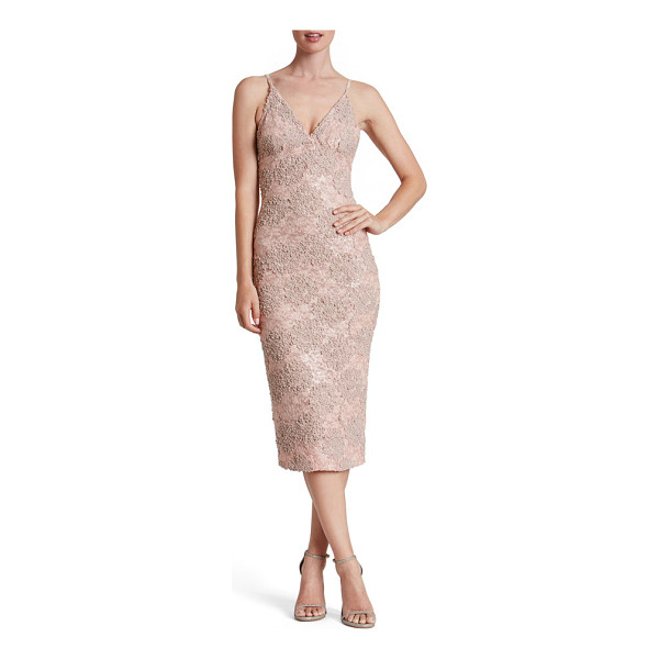 DRESS THE POPULATION sequin textured lace midi dress - Soft, highly textured applique over matching sequined lace...