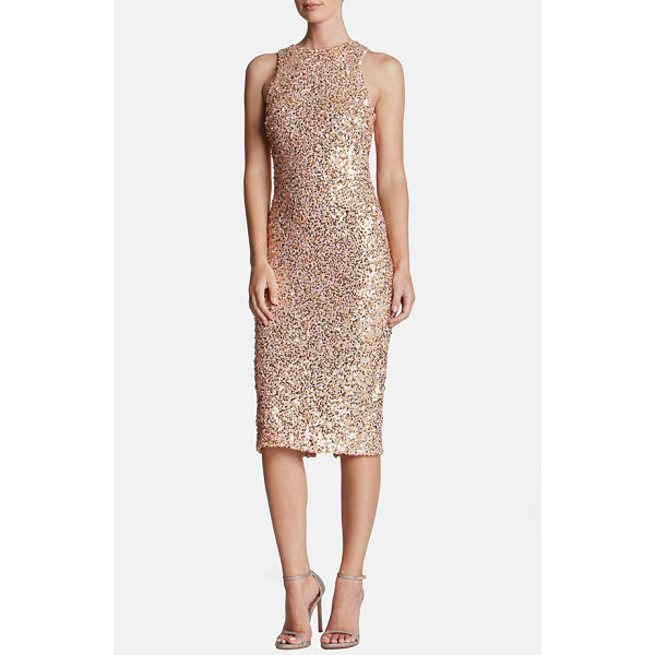 DRESS THE POPULATION shawn sequin midi dress - Tonal sequins mottle this sultry longline dress that hugs...