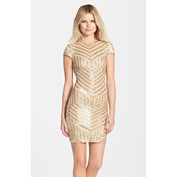 DRESS THE POPULATION tabitha sequin minidress - An Art Deco tone smartens the glittering, party-perfect...