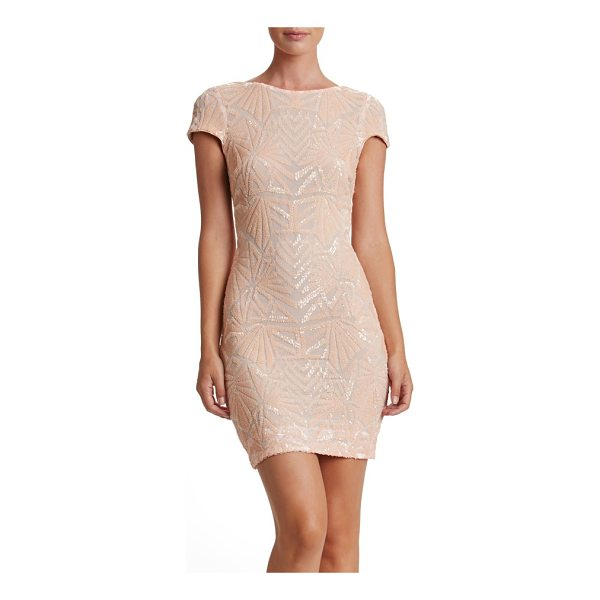 DRESS THE POPULATION tabitha sequin mesh minidress - An Art Deco tone enriches the glittering, party-perfect...