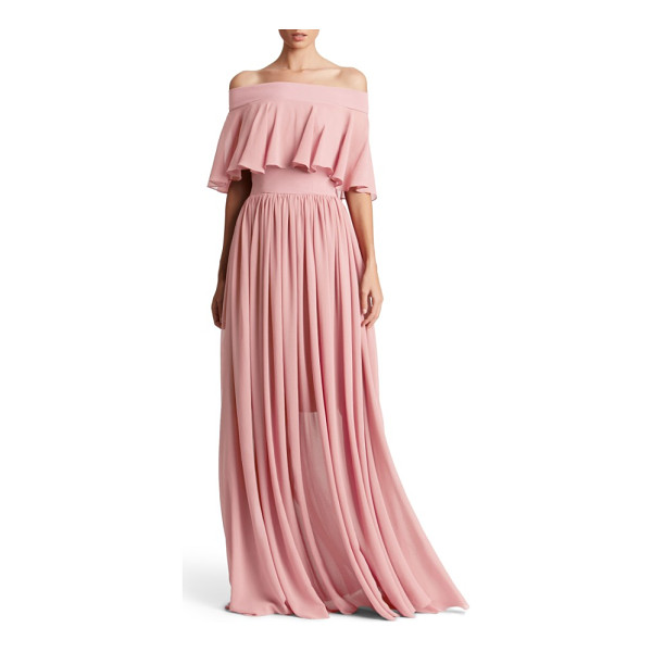 DRESS THE POPULATION violet off the shoulder chiffon gown - A fluttery overlay creates graceful movement on a flowing...