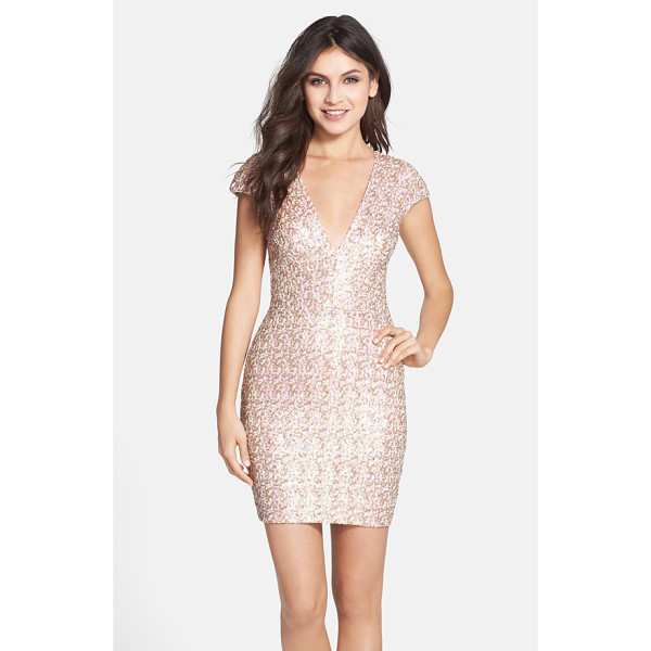 DRESS THE POPULATION zoe sequin v-neck body-con dress - Eye-catching sequins illuminate the curve-flaunting...