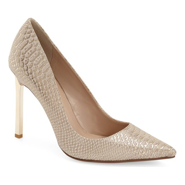 DUNE LONDON 'barcardie' pointy toe pump - A goldtone stiletto heel provides a flashy finish for a...