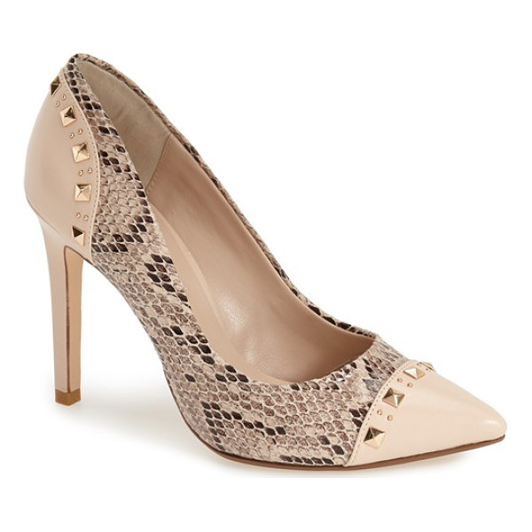 DUNE LONDON brontie genuine snakeskin pump - Polished pyramid studs accent the smooth leather trim of a...