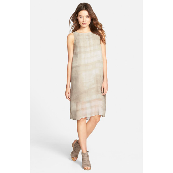 EILEEN FISHER boatneck silk shift dress - Here's a great transition piece to take you through the...