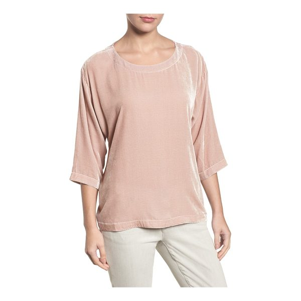 EILEEN FISHER boxy velvet top - An elegantly simple and easy top is elevated for a busy...