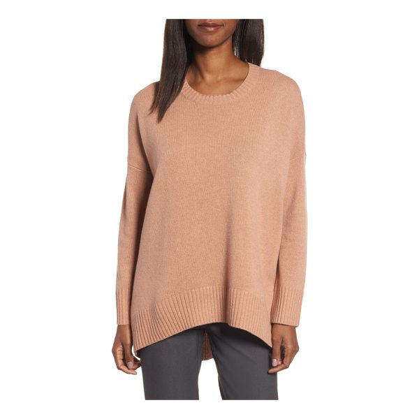 EILEEN FISHER cashmere & wool blend oversize sweater - A wide band of ribbing accentuates the fluid elliptical-cut...