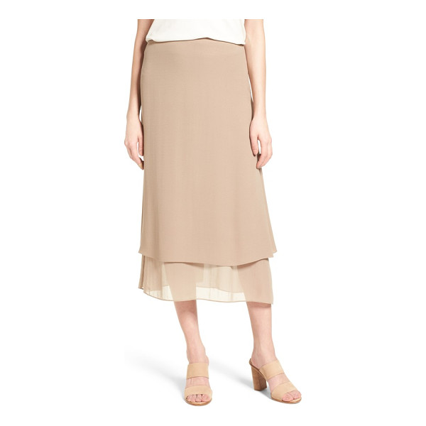 EILEEN FISHER long layered silk skirt - Layered construction creates rippling movement for a slim,...