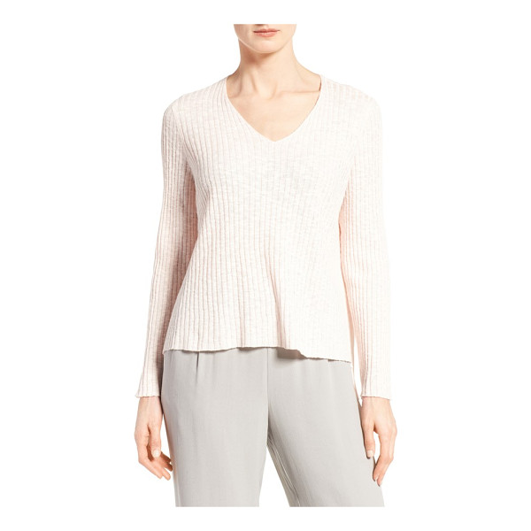 EILEEN FISHER organic linen & cotton v-neck sweater - Wide ribbing textures a V-neck sweater spun from a cool,...