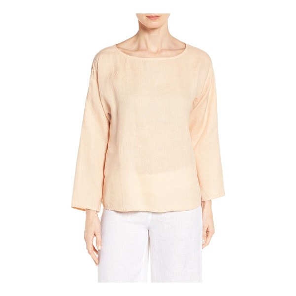EILEEN FISHER petite   organic handkerchief linen top - A light and airy choice for spring, a bateau-neck top is...