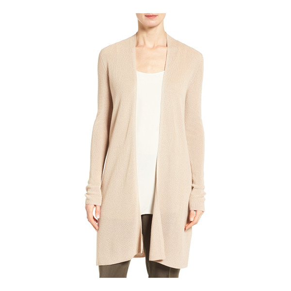 EILEEN FISHER sleek ribbed tencel long cardigan - A long, lean cardigan is lightened up for spring with a...