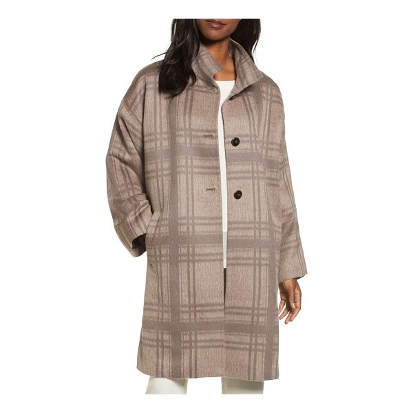 EILEEN FISHER plaid stand collar coat - This long, alpaca-blend coat boasts a luxurious and...
