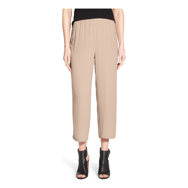EILEEN FISHER silk crop pants - Cropped, wide-leg pants are fashioned from pure silk for...