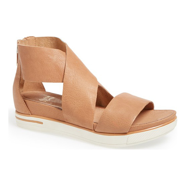 EILEEN FISHER sport platform sandal - Wide, lightly pebbled leather straps wrap a sporty-looking...