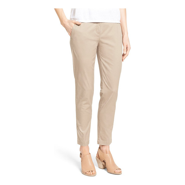 EILEEN FISHER tapered leg twill ankle pants - Trouser-inspired tailoring polishes the look of lightweight...