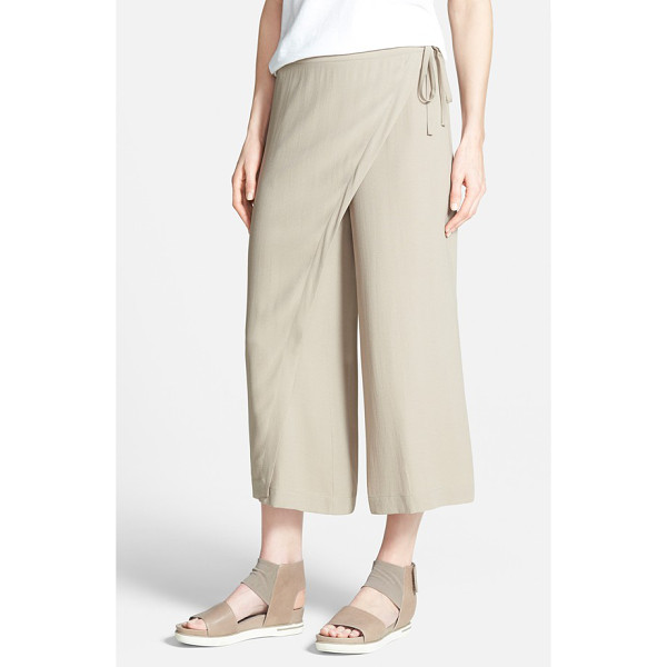 EILEEN FISHER wrap front wide leg silk crop pants - Cut from flowy silk crepe, this chic hybrid between a flowy...