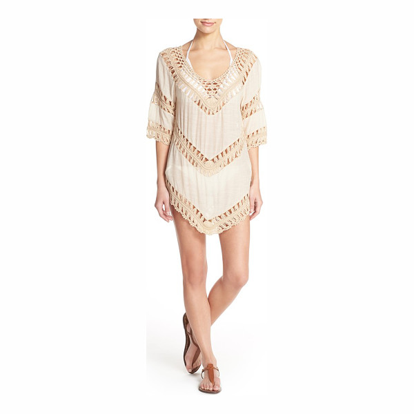 ELAN crochet tunic cover-up - Sheer panels of beachy crochet play up the free-spirited...