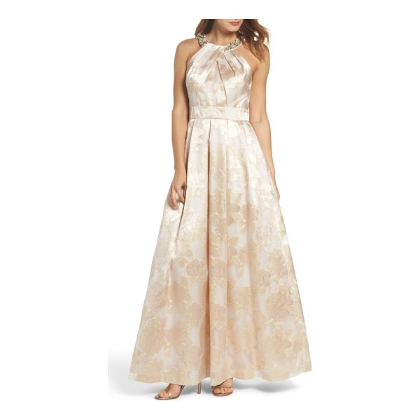 ELIZA J beaded halter neck gown - This fluid A-line jacquard stunner accented with ornate...