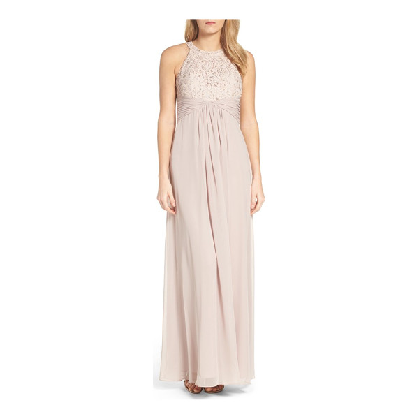 ELIZA J beaded lace & chiffon gown - Embroidered lace covers the cutaway-shoulder bodice of a...