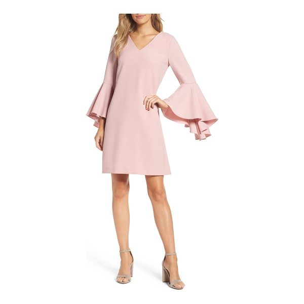 ELIZA J bell sleeve crepe shift dress - Oversized bell sleeves dramatically punctuate an otherwise...