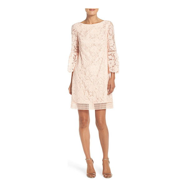 ELIZA J petite   bell sleeve lace shift dress - A versatile party dress in exquisite floral lace is styled...