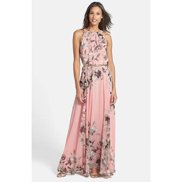 ELIZA J belted chiffon maxi dress - Face-framing pleats crown the bodice of this romantic,...