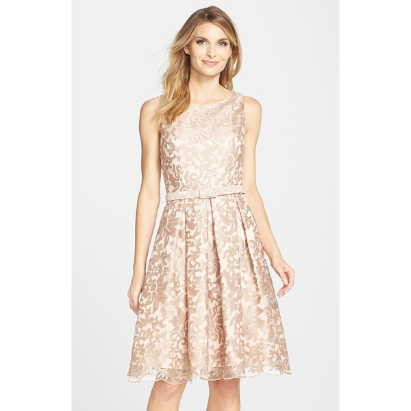 ELIZA J belted embroidered mesh fit & flare dress - A demure belt subtly nips in the waist of this radiant...