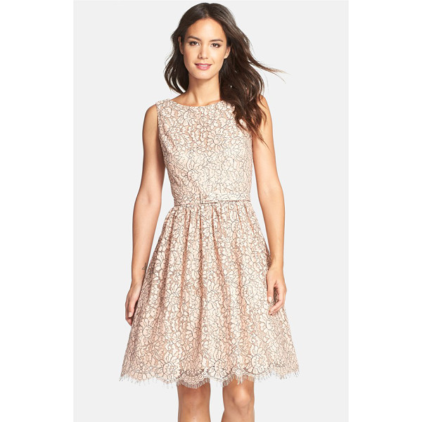 ELIZA J belted lace fit & flare dress - Floral lace in a pretty blush hue refreshes a feminine...