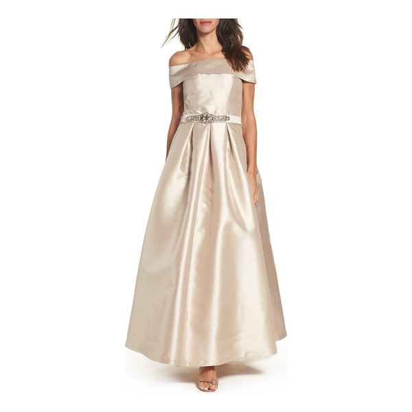 ELIZA J belted mikado ballgown - The fold-over neckline of this lustrous gown balances...