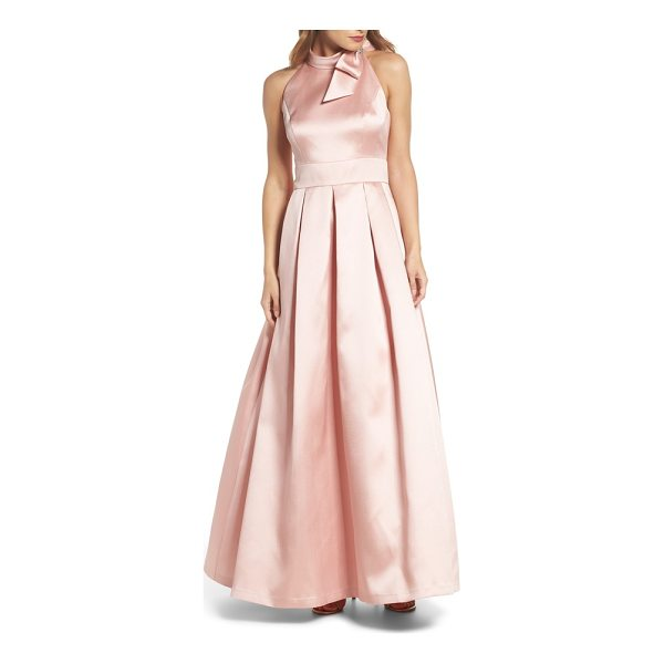ELIZA J bow halter neck mikado ballgown - Dramatic details like the bow-tie halter neck and a lush...