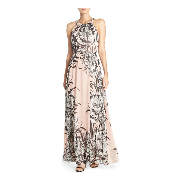 ELIZA J chiffon maxi dress - Face-framing pleats crown the bodice of this romantic,...