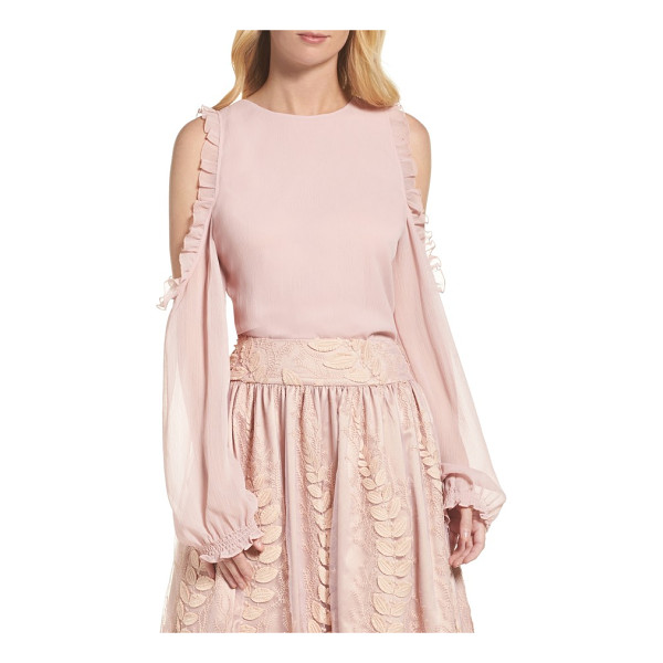ELIZA J cold shoulder top - Delicate ruffles and crinkled chiffon add a romantic feel...