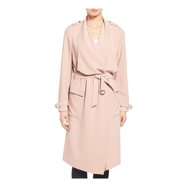 ELIZA J drape front water repellent wrap trench coat - A wide, draping collar and pale pink tone define this...