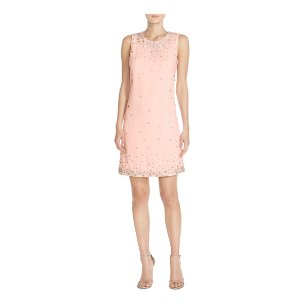 ELIZA J embellished crepe shift dress - A twinkling, rhinestone-dotted wonderland fronts a...