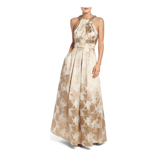 ELIZA J embellished floral jacquard fit & flare gown - Faux pearls and crystals add even more glam to this radiant...