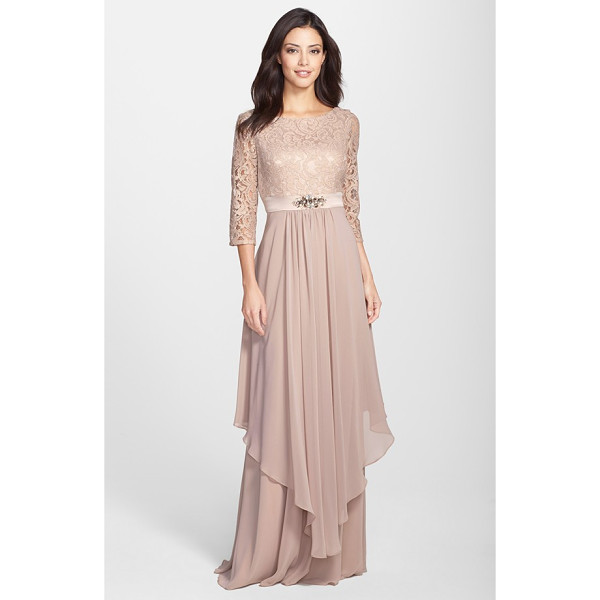 ELIZA J embellished lace & chiffon gown - An enchanting dusty-rose shade saturates this bateau-neck...