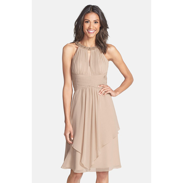 ELIZA J embellished neck layered chiffon fit & flare dress - From the beaded neckline and shirred keyhole bodice to the...