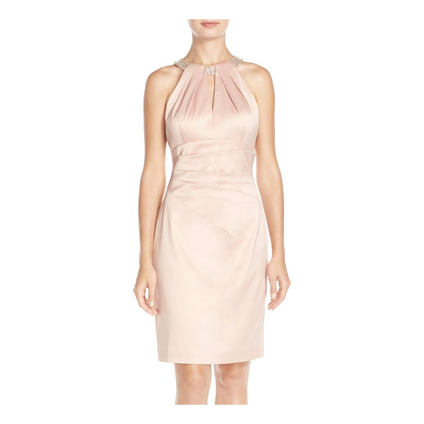 ELIZA J embellished neck sheath dress - Scintillating beads and jewels circle the neck of a satiny...