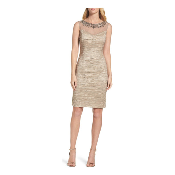 ELIZA J embellished sheath dress - Ornate beading lights up the illusion yoke of a...