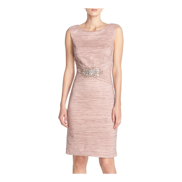 ELIZA J embellished taffeta sheath dress - Lustrous crushed taffeta gives rich texture to a timelessly...