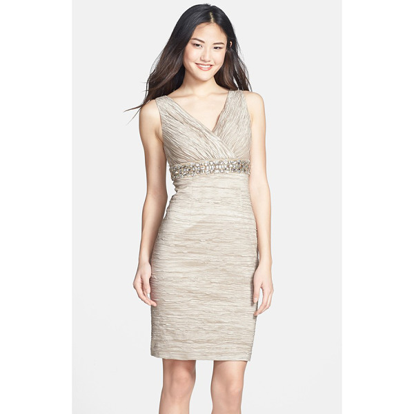 ELIZA J embellished waist crinkled taffeta dress - Crinkled texture, coupled with metallic shine, creates...
