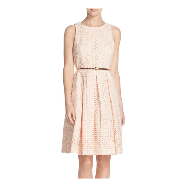 ELIZA J eyelet cotton fit & flare dress - Crafted from breezy eyelet cotton, this summery sleeveless...