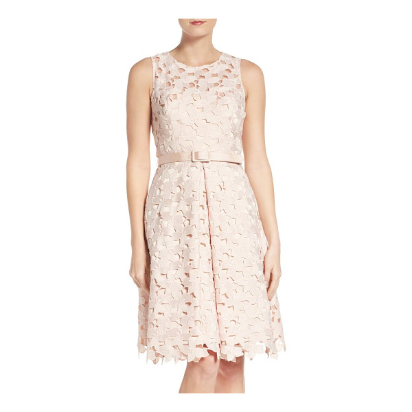 ELIZA J fit & flare dress - Lacy cutouts overlay this belted, pleat-flared cocktail...