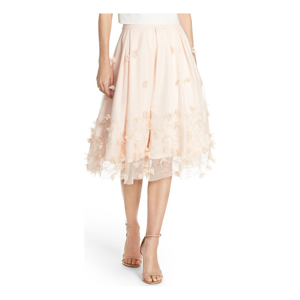 ELIZA J floral applique ball skirt - Shimmery embroidery and petal appliques trace floral...