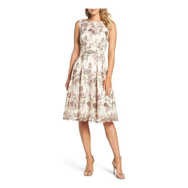 ELIZA J floral fit & flare dress - Metallic floral embroidery and a crystal-encrusted belt...