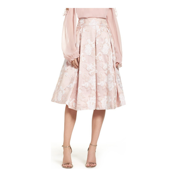 ELIZA J floral print organza midi skirt - Achromatic blossoms pattern the lightweight organza of this...